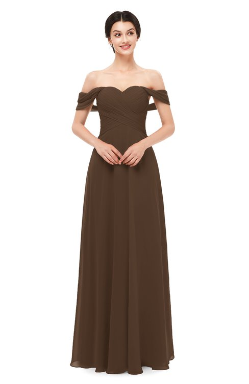 ColsBM Lydia Chocolate Brown Bridesmaid Dresses Sweetheart A-line Floor Length Modern Ruching Short Sleeve