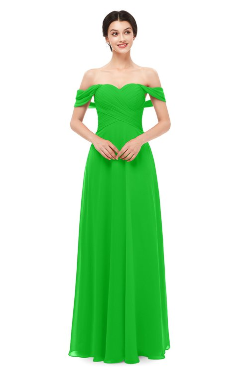 ColsBM Lydia Classic Green Bridesmaid Dresses Sweetheart A-line Floor Length Modern Ruching Short Sleeve