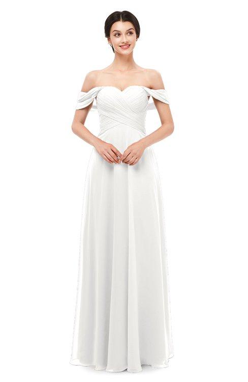 ColsBM Lydia Cloud White Bridesmaid Dresses Sweetheart A-line Floor Length Modern Ruching Short Sleeve