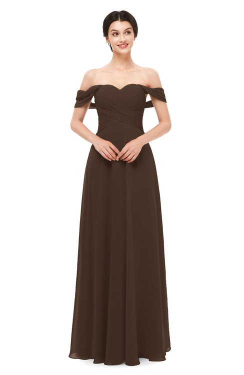 ColsBM Lydia Copper Bridesmaid Dresses Sweetheart A-line Floor Length Modern Ruching Short Sleeve