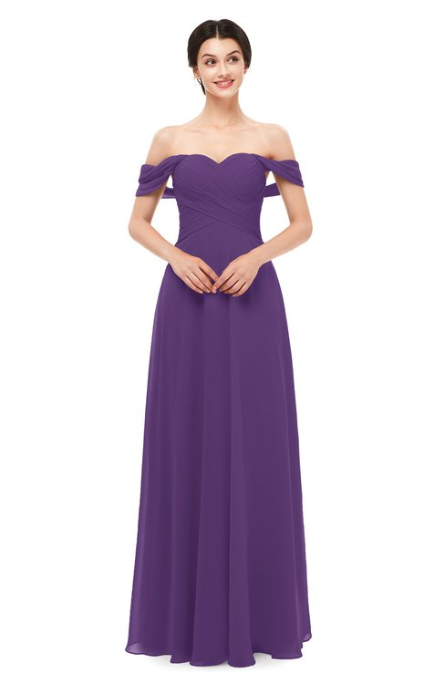 ColsBM Lydia Dark Purple Bridesmaid Dresses Sweetheart A-line Floor Length Modern Ruching Short Sleeve