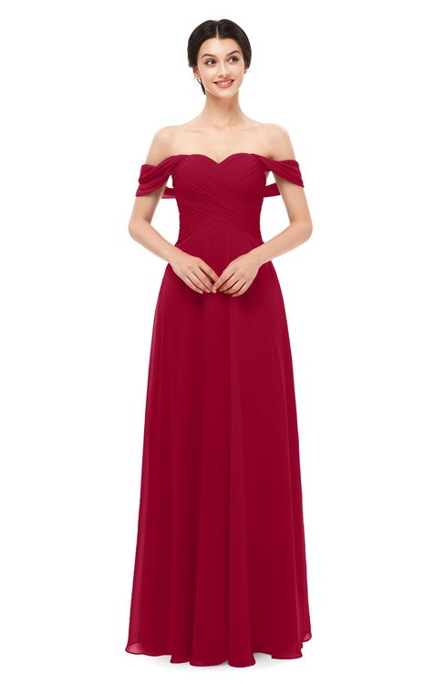 ColsBM Lydia Dark Red Bridesmaid Dresses Sweetheart A-line Floor Length Modern Ruching Short Sleeve
