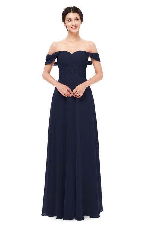 ColsBM Lydia Dark Sapphire Bridesmaid Dresses Sweetheart A-line Floor Length Modern Ruching Short Sleeve