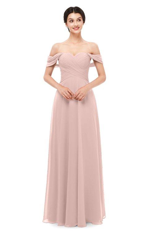 ColsBM Lydia Dusty Rose Bridesmaid Dresses Sweetheart A-line Floor Length Modern Ruching Short Sleeve