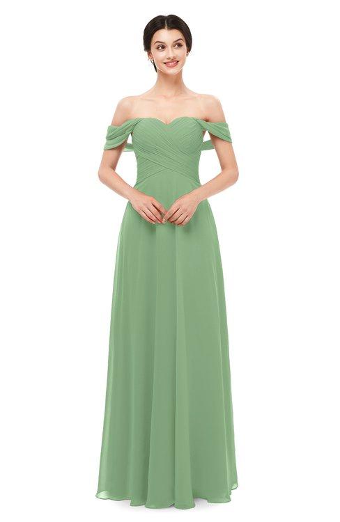 ColsBM Lydia Fair Green Bridesmaid Dresses Sweetheart A-line Floor Length Modern Ruching Short Sleeve
