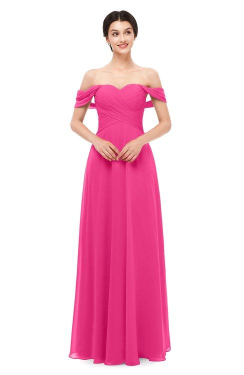 ColsBM Lydia Fandango Pink Bridesmaid Dresses Sweetheart A-line Floor Length Modern Ruching Short Sleeve