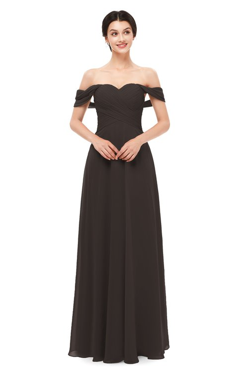 ColsBM Lydia Fudge Brown Bridesmaid Dresses Sweetheart A-line Floor Length Modern Ruching Short Sleeve