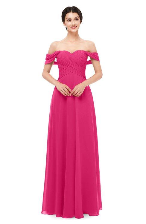 ColsBM Lydia Fuschia Bridesmaid Dresses Sweetheart A-line Floor Length Modern Ruching Short Sleeve