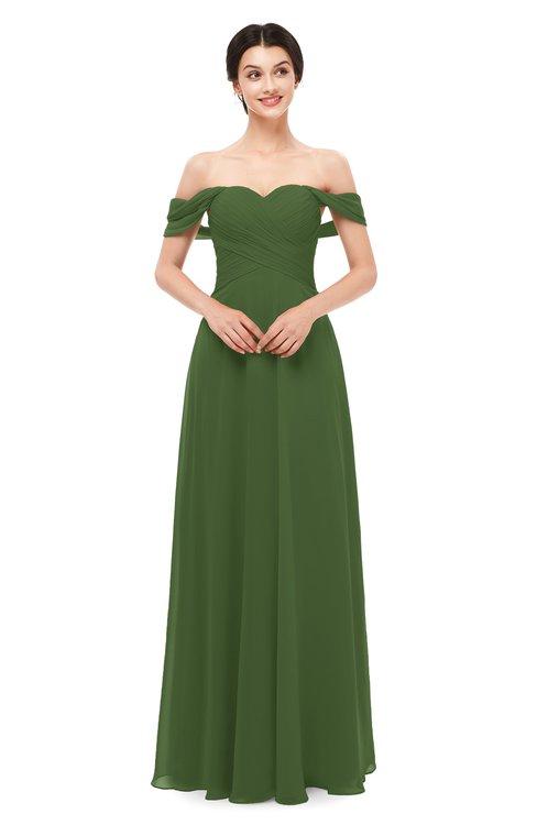 ColsBM Lydia Garden Green Bridesmaid Dresses Sweetheart A-line Floor Length Modern Ruching Short Sleeve