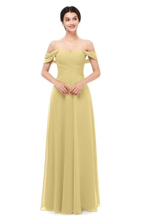ColsBM Lydia Gold Bridesmaid Dresses Sweetheart A-line Floor Length Modern Ruching Short Sleeve