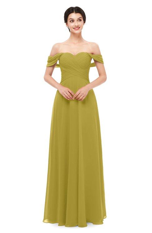 ColsBM Lydia Golden Olive Bridesmaid Dresses Sweetheart A-line Floor Length Modern Ruching Short Sleeve