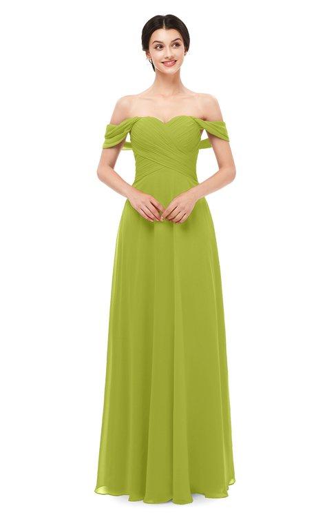 ColsBM Lydia Green Oasis Bridesmaid Dresses Sweetheart A-line Floor Length Modern Ruching Short Sleeve