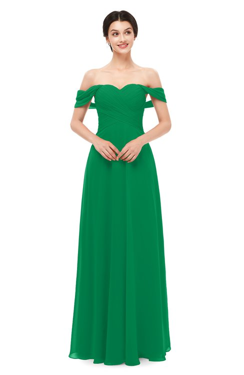 ColsBM Lydia Green Bridesmaid Dresses Sweetheart A-line Floor Length Modern Ruching Short Sleeve