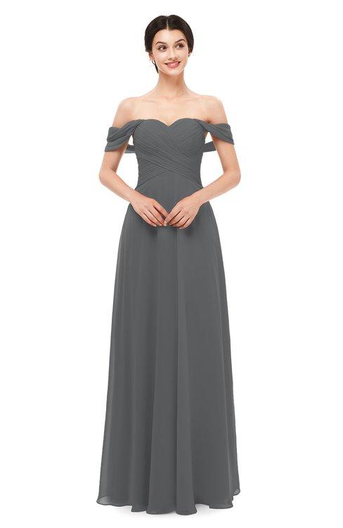 ColsBM Lydia Grey Bridesmaid Dresses Sweetheart A-line Floor Length Modern Ruching Short Sleeve