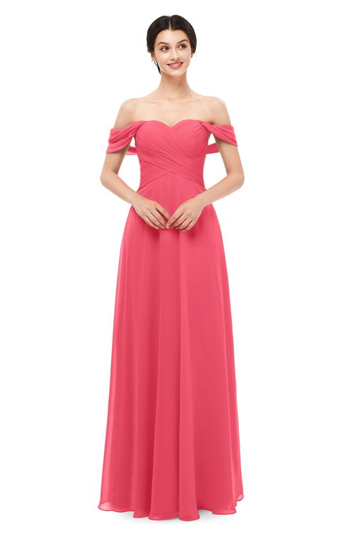 ColsBM Lydia Guava Bridesmaid Dresses Sweetheart A-line Floor Length Modern Ruching Short Sleeve