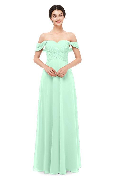 ColsBM Lydia Honeydew Bridesmaid Dresses Sweetheart A-line Floor Length Modern Ruching Short Sleeve