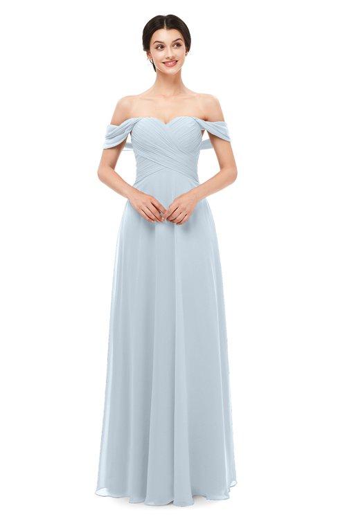 ColsBM Lydia Illusion Blue Bridesmaid Dresses Sweetheart A-line Floor Length Modern Ruching Short Sleeve