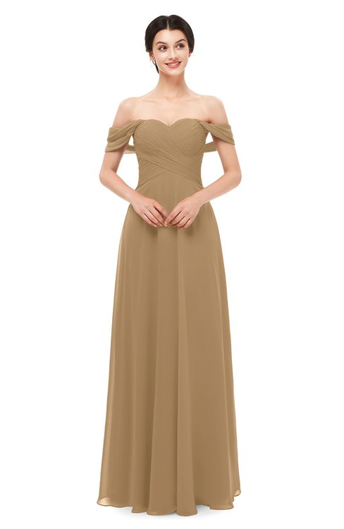 ColsBM Lydia Indian Tan Bridesmaid Dresses Sweetheart A-line Floor Length Modern Ruching Short Sleeve