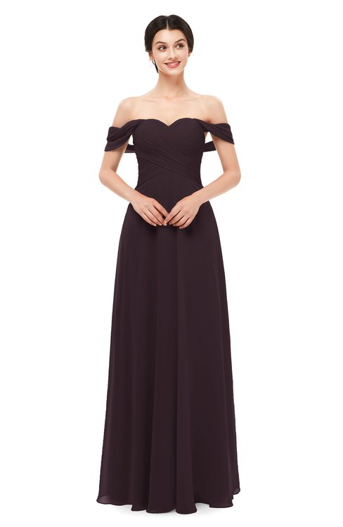 ColsBM Lydia Italian Plum Bridesmaid Dresses Sweetheart A-line Floor Length Modern Ruching Short Sleeve