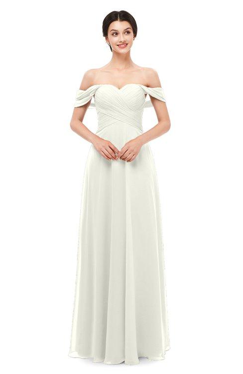ColsBM Lydia Ivory Bridesmaid Dresses Sweetheart A-line Floor Length Modern Ruching Short Sleeve