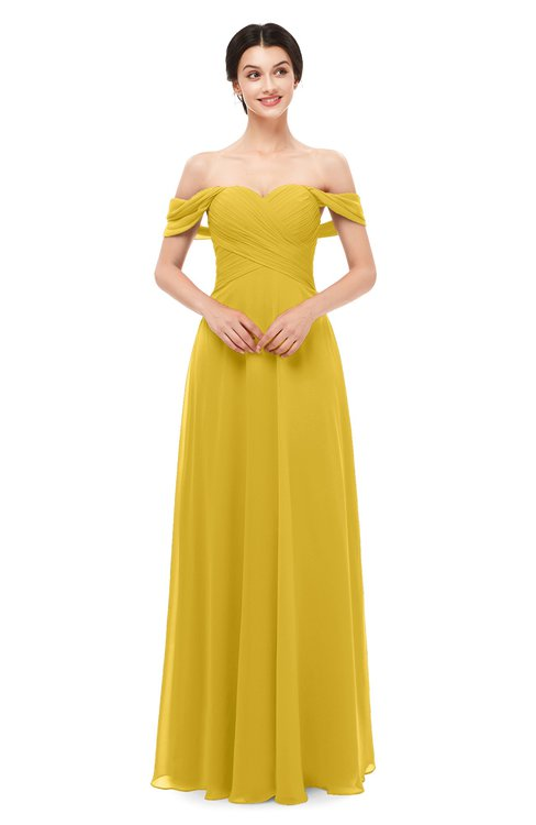 ColsBM Lydia Lemon Curry Bridesmaid Dresses Sweetheart A-line Floor Length Modern Ruching Short Sleeve