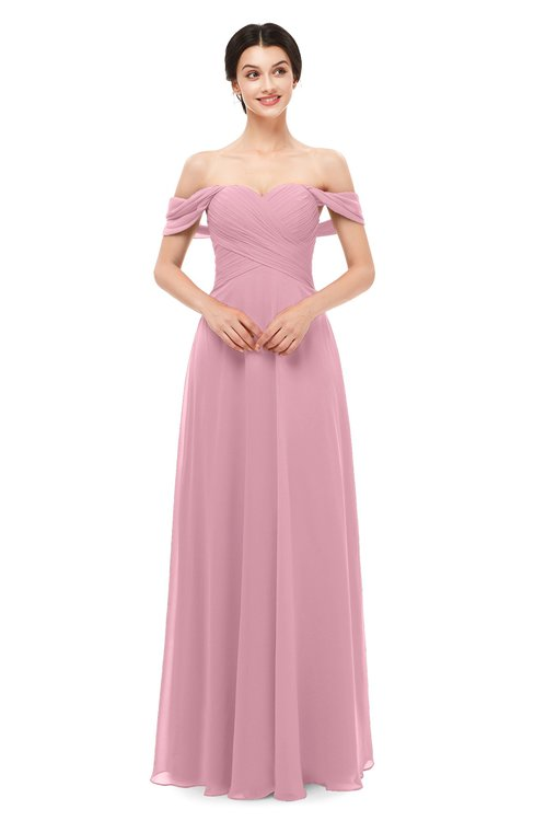 ColsBM Lydia Light Coral Bridesmaid Dresses Sweetheart A-line Floor Length Modern Ruching Short Sleeve
