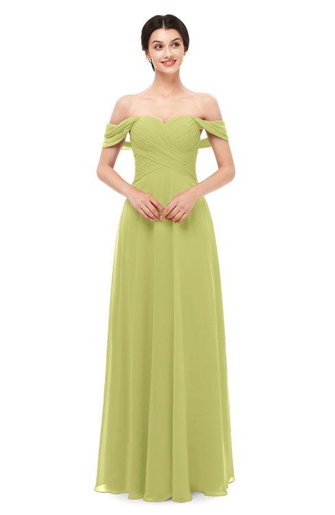 ColsBM Lydia Linden Green Bridesmaid Dresses Sweetheart A-line Floor Length Modern Ruching Short Sleeve