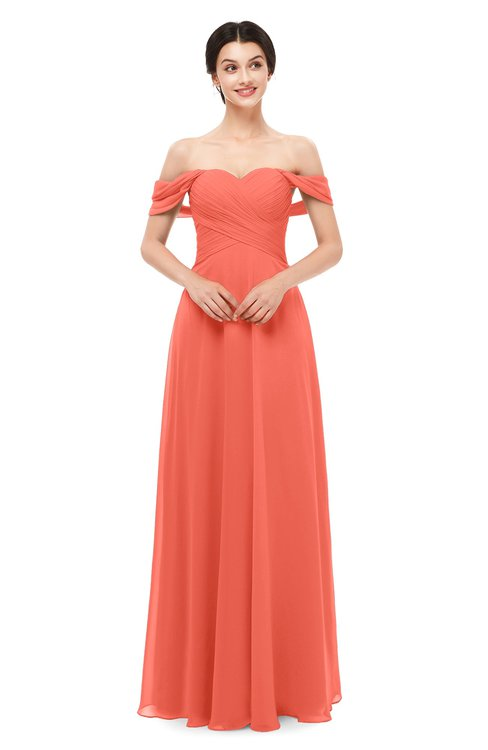 ColsBM Lydia Living Coral Bridesmaid Dresses Sweetheart A-line Floor Length Modern Ruching Short Sleeve