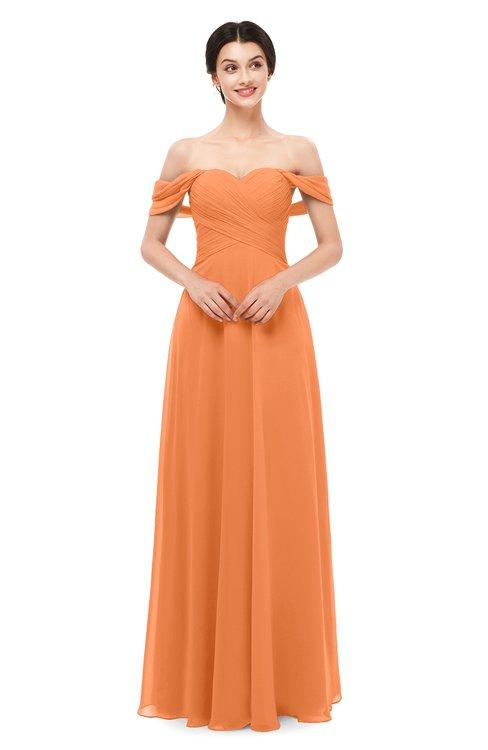 ColsBM Lydia Mango Bridesmaid Dresses Sweetheart A-line Floor Length Modern Ruching Short Sleeve