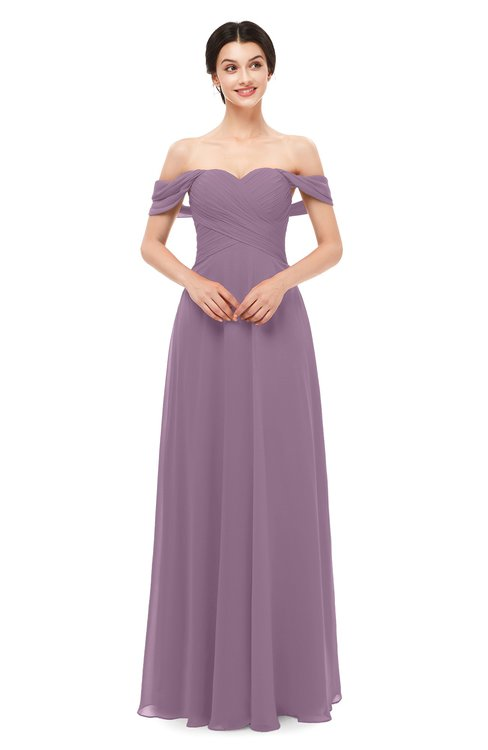 ColsBM Lydia Mauve Bridesmaid Dresses Sweetheart A-line Floor Length Modern Ruching Short Sleeve