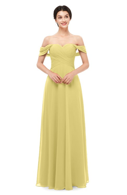 ColsBM Lydia Misted Yellow Bridesmaid Dresses Sweetheart A-line Floor Length Modern Ruching Short Sleeve