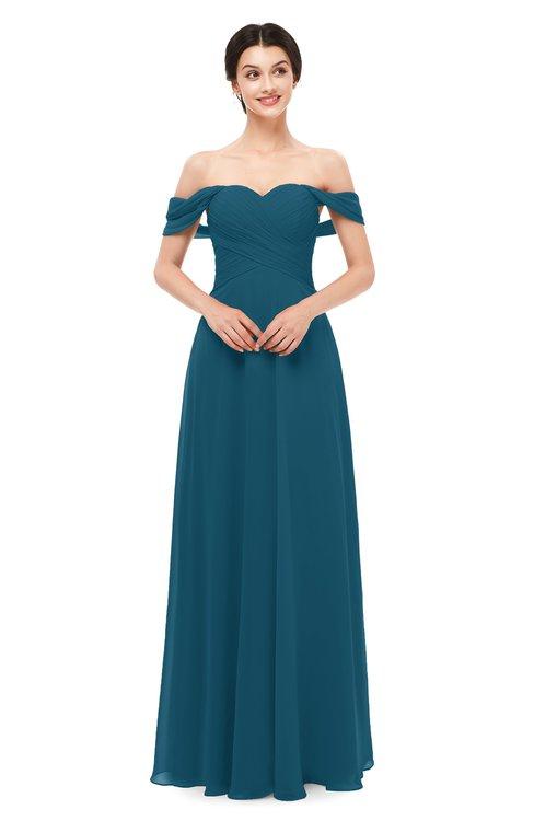 ColsBM Lydia Moroccan Blue Bridesmaid Dresses Sweetheart A-line Floor Length Modern Ruching Short Sleeve