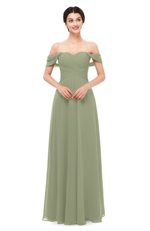 ColsBM Lydia Moss Green Bridesmaid Dresses Sweetheart A-line Floor Length Modern Ruching Short Sleeve