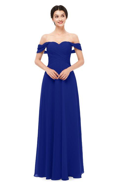 ColsBM Lydia Nautical Blue Bridesmaid Dresses Sweetheart A-line Floor Length Modern Ruching Short Sleeve