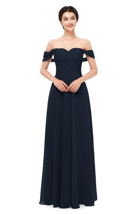 ColsBM Lydia Navy Blue Bridesmaid Dresses Sweetheart A-line Floor Length Modern Ruching Short Sleeve