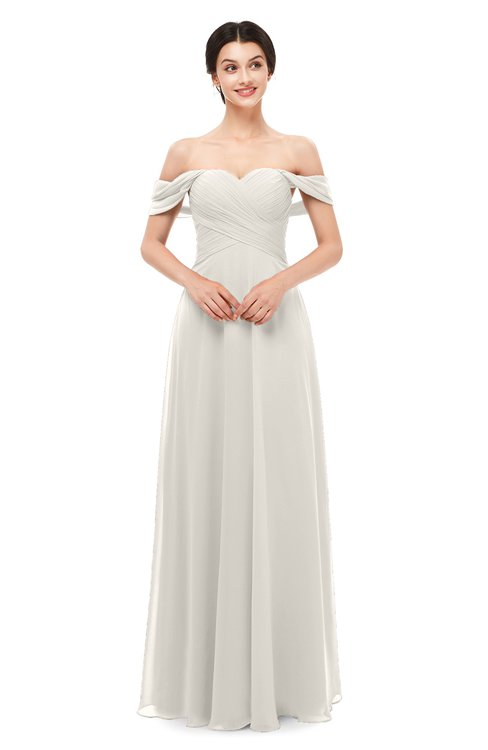 ColsBM Lydia Off White Bridesmaid Dresses Sweetheart A-line Floor Length Modern Ruching Short Sleeve