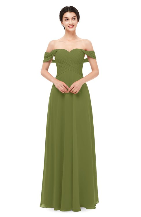 ColsBM Lydia Olive Green Bridesmaid Dresses Sweetheart A-line Floor Length Modern Ruching Short Sleeve