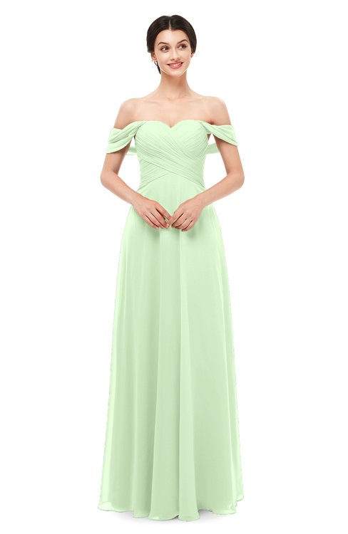 ColsBM Lydia Pale Green Bridesmaid Dresses Sweetheart A-line Floor Length Modern Ruching Short Sleeve