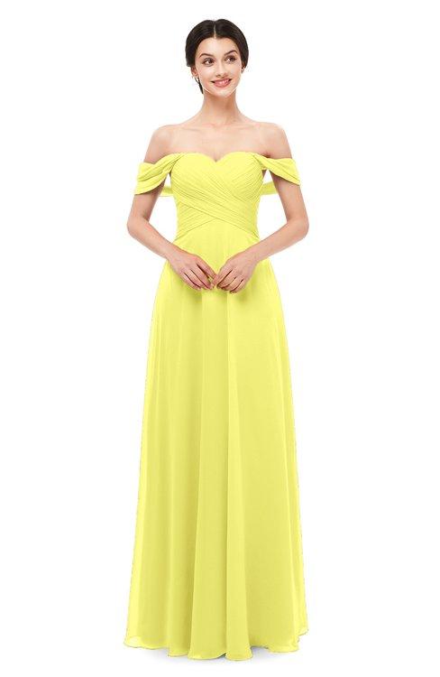 ColsBM Lydia Pale Yellow Bridesmaid Dresses Sweetheart A-line Floor Length Modern Ruching Short Sleeve
