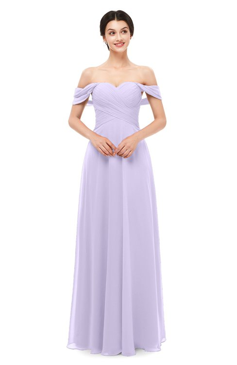 ColsBM Lydia Pastel Lilac Bridesmaid Dresses Sweetheart A-line Floor Length Modern Ruching Short Sleeve