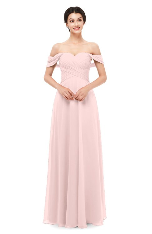 ColsBM Lydia Pastel Pink Bridesmaid Dresses Sweetheart A-line Floor Length Modern Ruching Short Sleeve