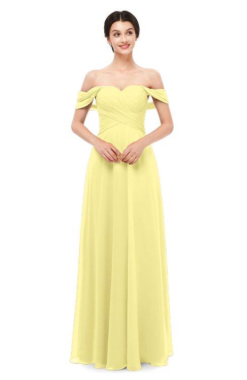 ColsBM Lydia Pastel Yellow Bridesmaid Dresses Sweetheart A-line Floor Length Modern Ruching Short Sleeve