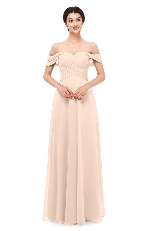 ColsBM Lydia Peach Puree Bridesmaid Dresses Sweetheart A-line Floor Length Modern Ruching Short Sleeve