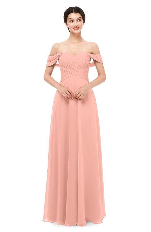 ColsBM Lydia Peach Bridesmaid Dresses Sweetheart A-line Floor Length Modern Ruching Short Sleeve