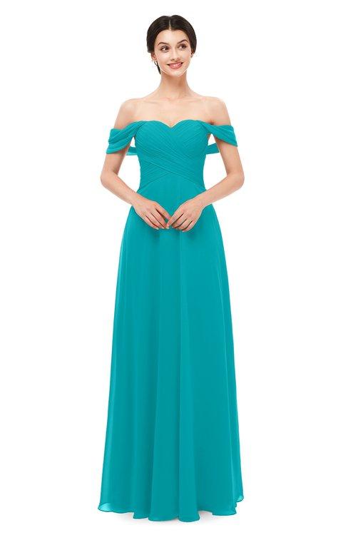 ColsBM Lydia Peacock Blue Bridesmaid Dresses Sweetheart A-line Floor Length Modern Ruching Short Sleeve