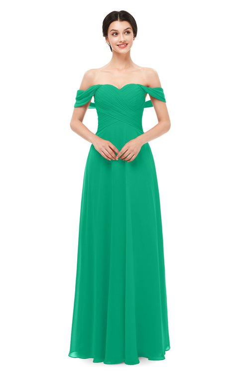 ColsBM Lydia Pepper Green Bridesmaid Dresses Sweetheart A-line Floor Length Modern Ruching Short Sleeve