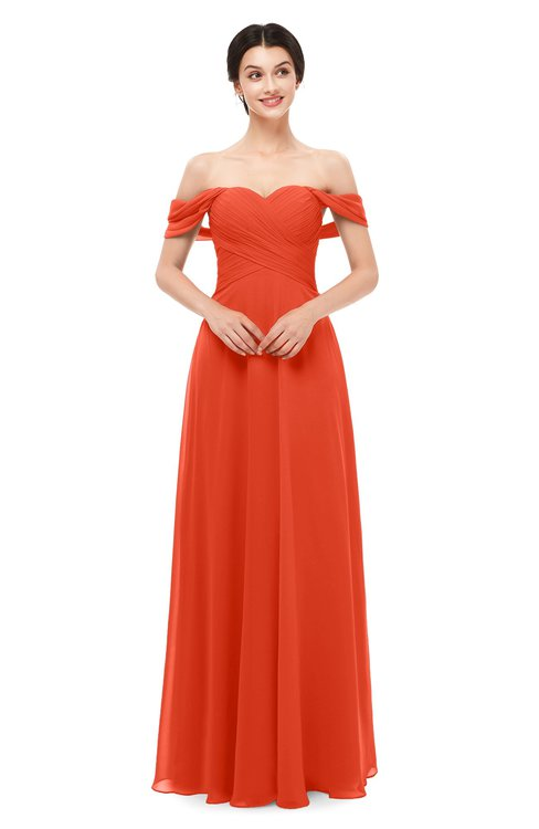 ColsBM Lydia Persimmon Bridesmaid Dresses Sweetheart A-line Floor Length Modern Ruching Short Sleeve