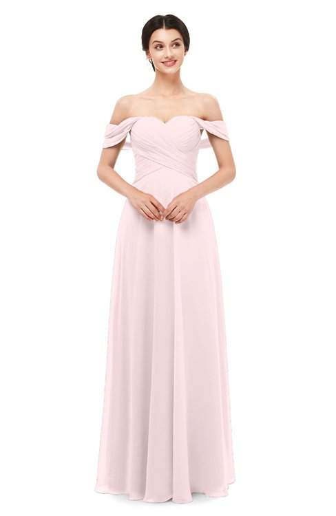 ColsBM Lydia Petal Pink Bridesmaid Dresses Sweetheart A-line Floor Length Modern Ruching Short Sleeve