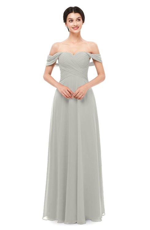 ColsBM Lydia Platinum Bridesmaid Dresses Sweetheart A-line Floor Length Modern Ruching Short Sleeve