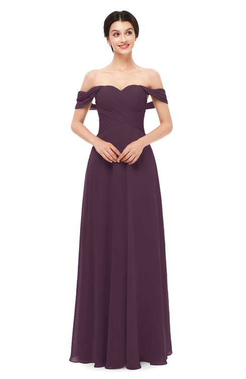 ColsBM Lydia Plum Bridesmaid Dresses Sweetheart A-line Floor Length Modern Ruching Short Sleeve